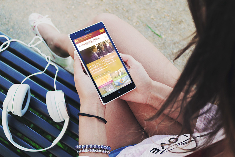 Image of girl on University of Minnesota mobile site